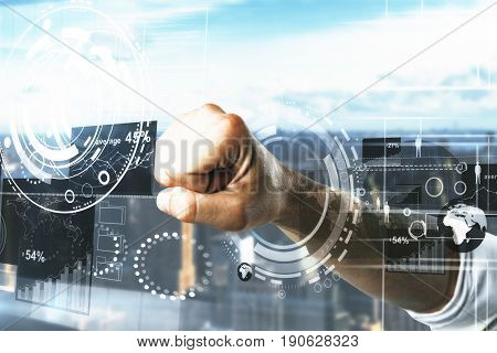 Male fist breaking digital business screen on city and sky background. Breakthrough concept. 3D Rendering