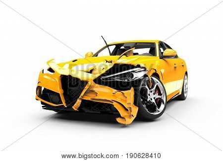 Yellow car crash on a white background isolated on a white background: 3d rendering