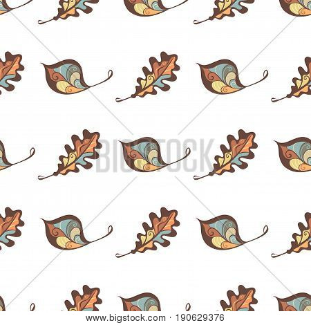 Seamless leaves pattern. Hand-drawn various leaves on white background. Nature boundless background.