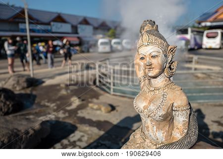 CHIANG RAI, THAILAND - FEBRUARY 4, 2016: Pha Soet Hot Spring outside Chiang Rai. This is a popular tourist stop in northern Thailand between Chiang Mai and Chiang Rai.