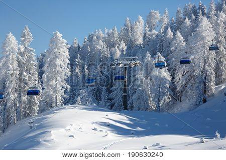 Ski resort Sankt Johan Alpendorf in Austrian Alps