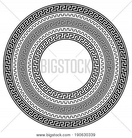 Greek traditional meander vector frames. Black and white