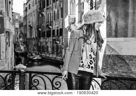 Tourist Woman In Venice, Italy In Winter Having Excursion