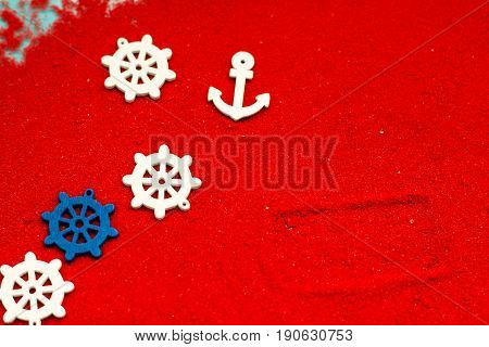 Decorative Anchor, Rudder On The Red Sand, Maritime Decor, Space For Text