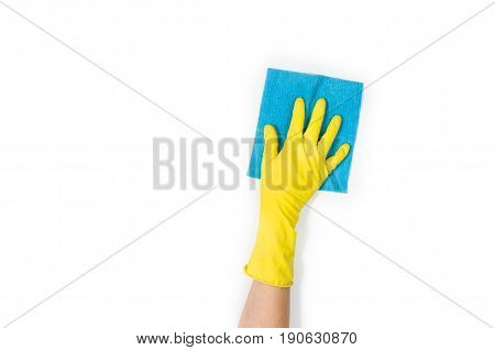 Isolated woman's hand cleaning on a white background. Cleaning or housekeeping concept background. Frame for text or advertising