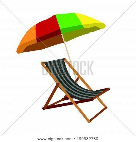 Sunbed With Umbrella Flat Icon. Cartoon Vector Illustration