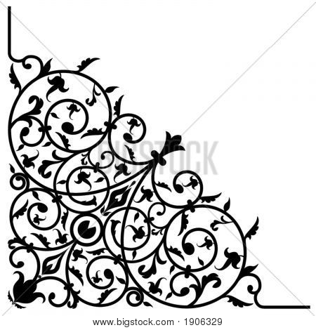 Vector scrolled corner design with abstract flower patterns. Useful to create artistic frames. Illustrator 10 file. poster