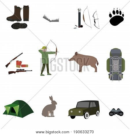 Hunting equipment, hunting rifle, suit, shotgun, boots, trap. bows with arrows, animals, camp tent and bag, binocular. Vector illustration isolated on white background