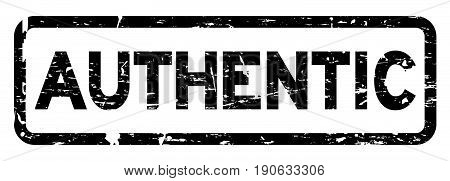 Grunge black authentic square rubber seal stamp on white background