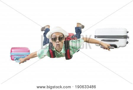 happiness face of asian traveling man flying with two luggage bag floating mid air isolated white background