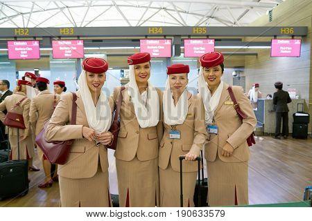 INCHEON, SOUTH KOREA - CIRCA MAY, 2017: Emirates crew members at Incheon International Airport.