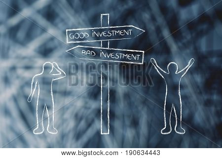 Happy And Sad Men Standing On Opposite Sides Of Good And Bad Investments Road Sign