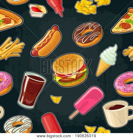 Seamless pattern fast food. Cup cola, coffee, donut, ice cream, chips, milkshake, hamburger, chicken legs, hotdog, fry potato, popcorn, ketchup Vector flat color illustration isolated on dark background