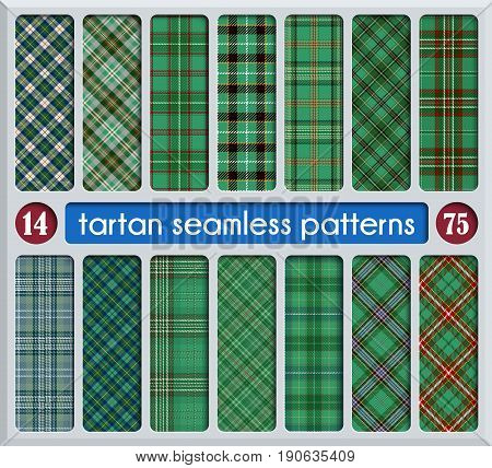 Set Tartan Seamless Pattern. Trendy Illustration for Wallpapers. Tartan Plaid Inspired Background. Suits for Decorative Paper Fashion Design and House Interior Design as Well as for Hand Crafts and DIY