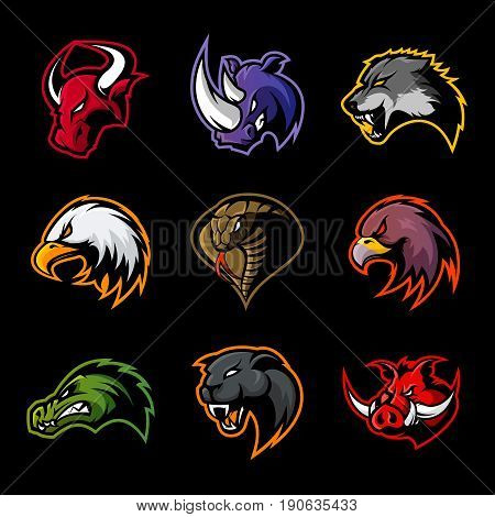Bull, rhino, wolf, eagle, cobra, alligator, panther, boar head isolated vector logo concept.  Modern badge mascot design. Premium quality wild animal, bird, snake t-shirt tee print illustration.