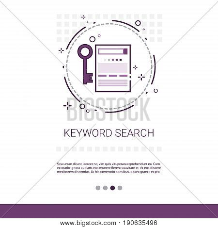Keywording Search Web Optimization Banner With Copy Space Vector Illustration