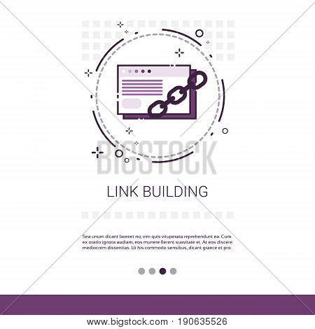 Link Building Seo Keywording Search Banner With Copy Space Vector Illustration