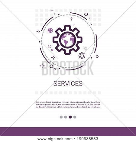 Service Cogwheel Support Technology Banner With Copy Space Vector Illustration