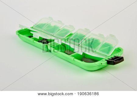 Fishing box isolated on white. Plastic box for fisherman.