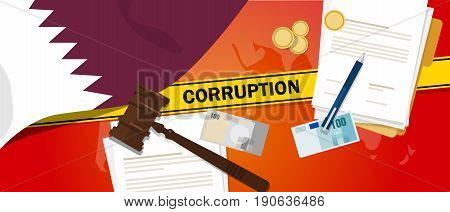 Qatar corruption money bribery financial law contract police line for a case scandal government official vector