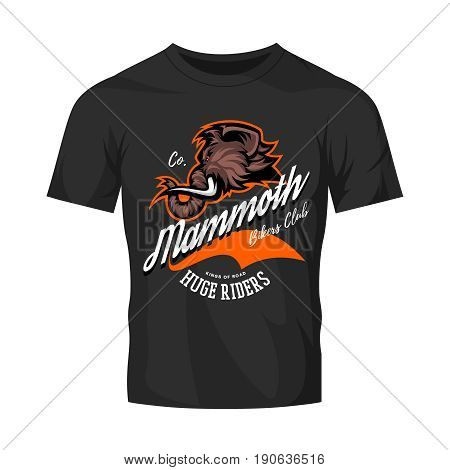 Furious woolly mammoth bikers gang club vector logo concept isolated on black t-shirt mock up. Street wear professional mascot team badge design. Premium quality wild animal tee print illustration.