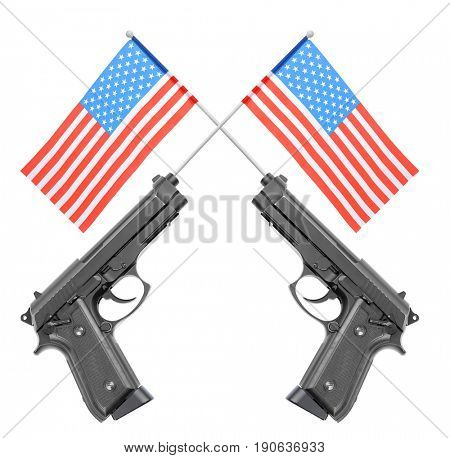 Firearm and American flags on white background. Gun control concept