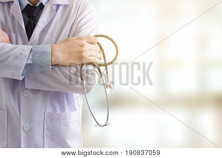Doctor With  Stethoscope. Doctor Hard Working. Man Doctor Concept In Hospital. Listening Something S