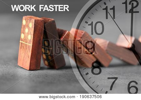 Clock face and falling dominoes with text WORK FASTER on background. Business concept
