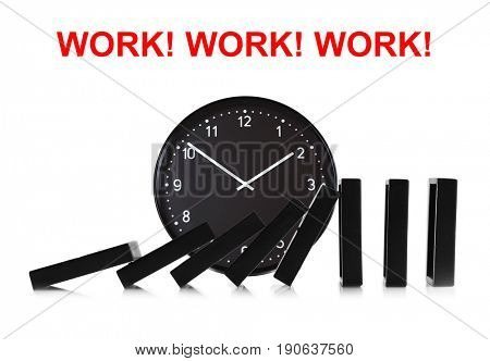 Clock with falling dominoes on white background. Concept of work time
