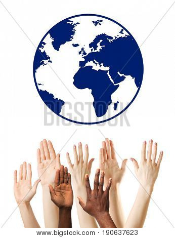 People raising hands and globe on white background. Concept of worldwide unity and environment protection