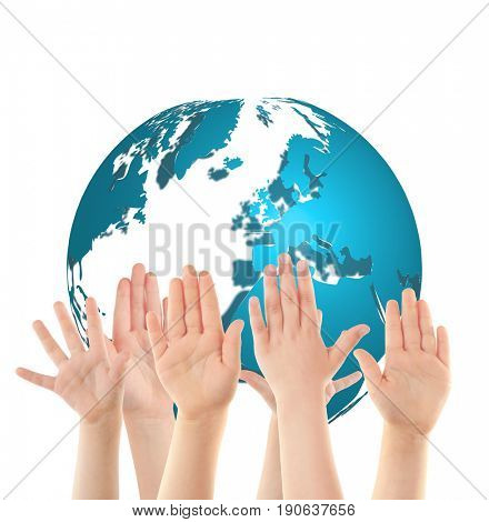 Children raising hands and globe on white background. Concept of worldwide unity and environment protection