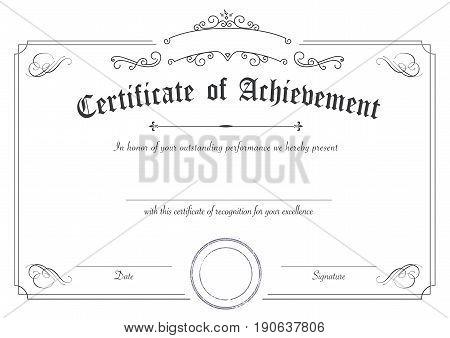 Classic And Retro Certificate Of Achievement Paper Template