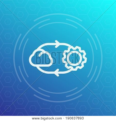 cloud technology vector line icon, eps 10 file, easy to edit