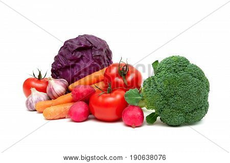 Vegetables isolated on white background. Horizontal photo.