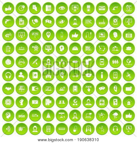 100 call center icons set green circle isolated on white background vector illustration