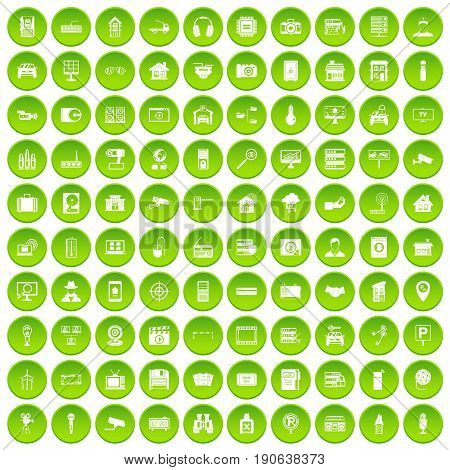 100 camera icons set green circle isolated on white background vector illustration