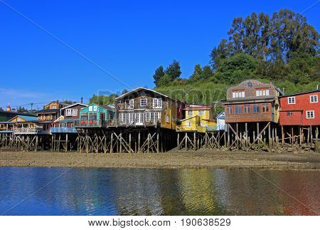 Palafito houses on stilts in Castro, Chiloe Island, Patagonia, Chile
