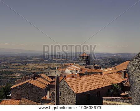 Village Monsanto in Portugal on sunset. Portuguese historic village.