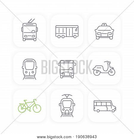City transport, bus, transit van, cab, train, taxi line icons set
