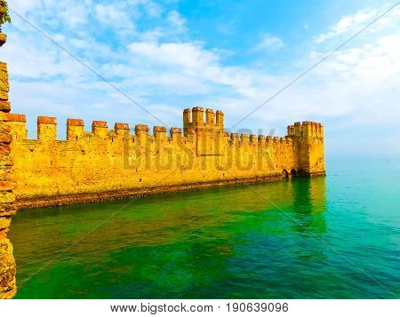 Scaliger Castle in Sirmione on lake Garda, Italy