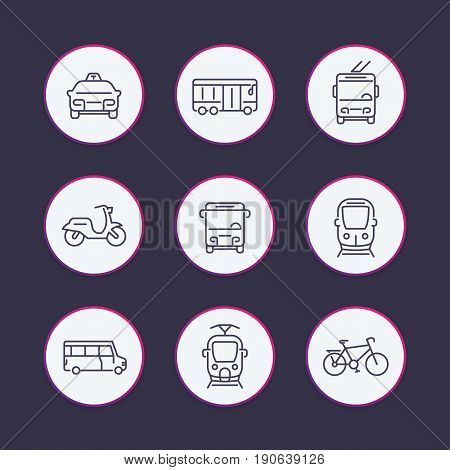 City transport line icons set, tram, train, bus, bike, taxi, trolleybus round vector pictograms