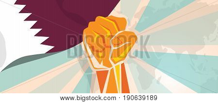 Qatar propaganda poster fight and protest independence struggle rebellion show symbolic strength with hand fist vector