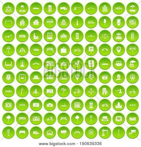 100 city icons set green circle isolated on white background vector illustration