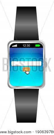 Smartwatch with internet web orange search engine - 3D illustration