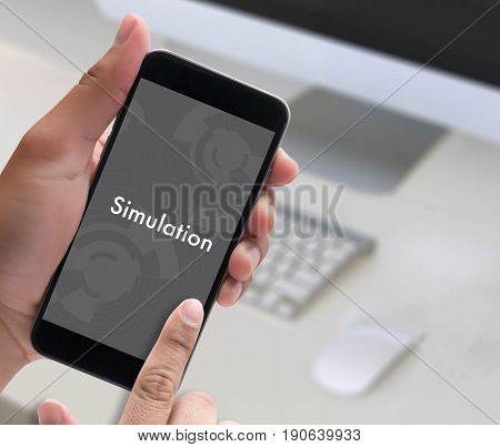 Simulation Man Work Web Design  Business Concept
