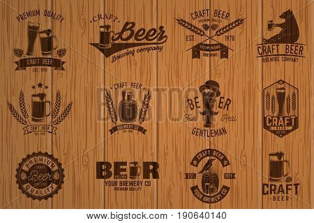 Set of Craft Beer badges. Vector illustration. Vintage design for bar, pub and restaurant business. Photorealistic wood engraved craft beer design.