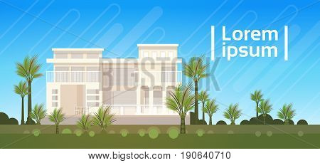 Modern Villa House Building Exterior Real Estate Banner With Copy Space Flat Vector Illustration