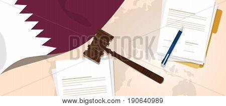 Qatar law constitution legal judgment justice legislation trial concept using flag gavel paper and pen vector