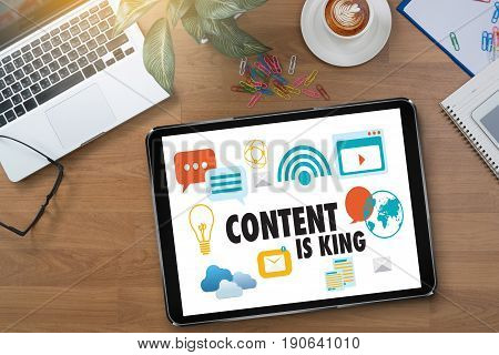Content Is King Seo Search Engine Optimization And Content Marketing Concept