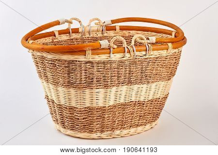 Straw basket isolated on white. Vintage natural bag for picnic. Be closer to nature.